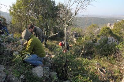 Hervé découvre des pierres taillées